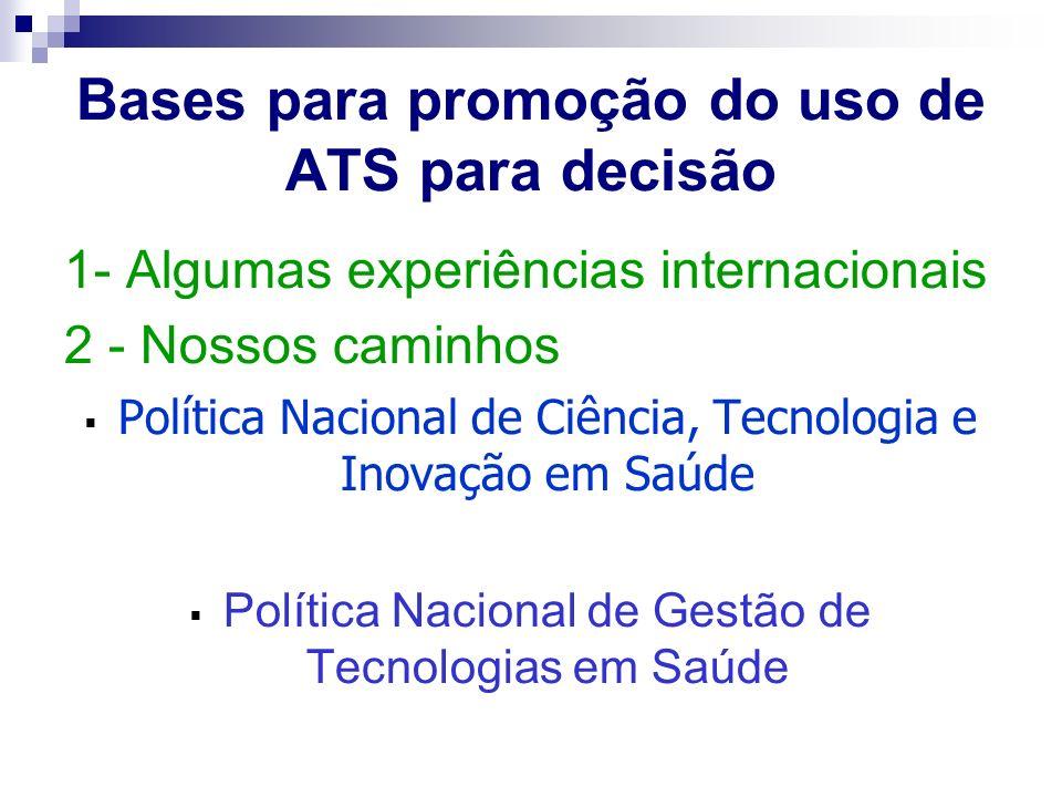 Bases para promoção do uso de ATS para decisão 1- Algumas experiências internacionais 2 - Nossos caminhos Política Nacional de Ciência, Tecnologia e I