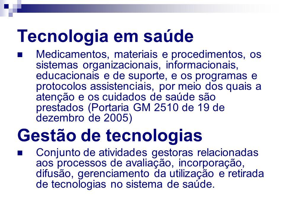 Tecnologia em saúde Medicamentos, materiais e procedimentos, os sistemas organizacionais, informacionais, educacionais e de suporte, e os programas e