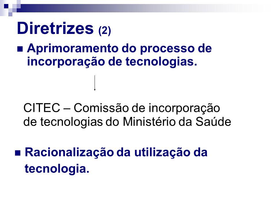 Diretrizes (2) Aprimoramento do processo de incorporação de tecnologias. CITEC – Comissão de incorporação de tecnologias do Ministério da Saúde Racion