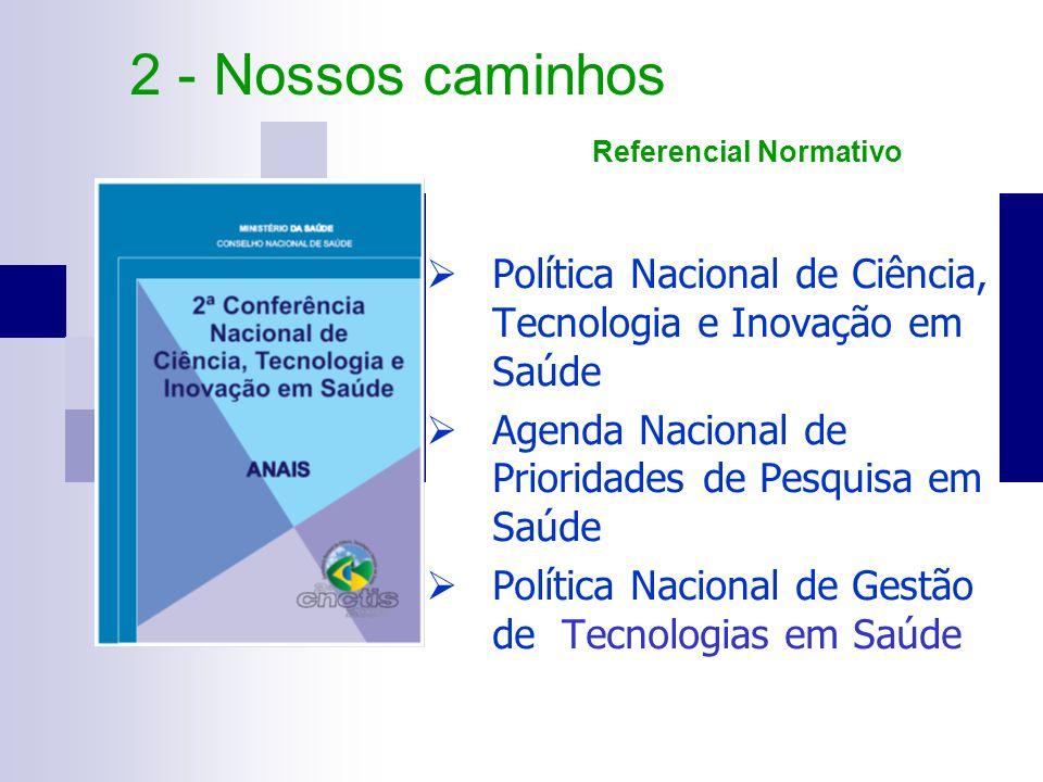 Política Nacional de Ciência, Tecnologia e Inovação em Saúde Agenda Nacional de Prioridades de Pesquisa em Saúde Política Nacional de Gestão de Tecnol
