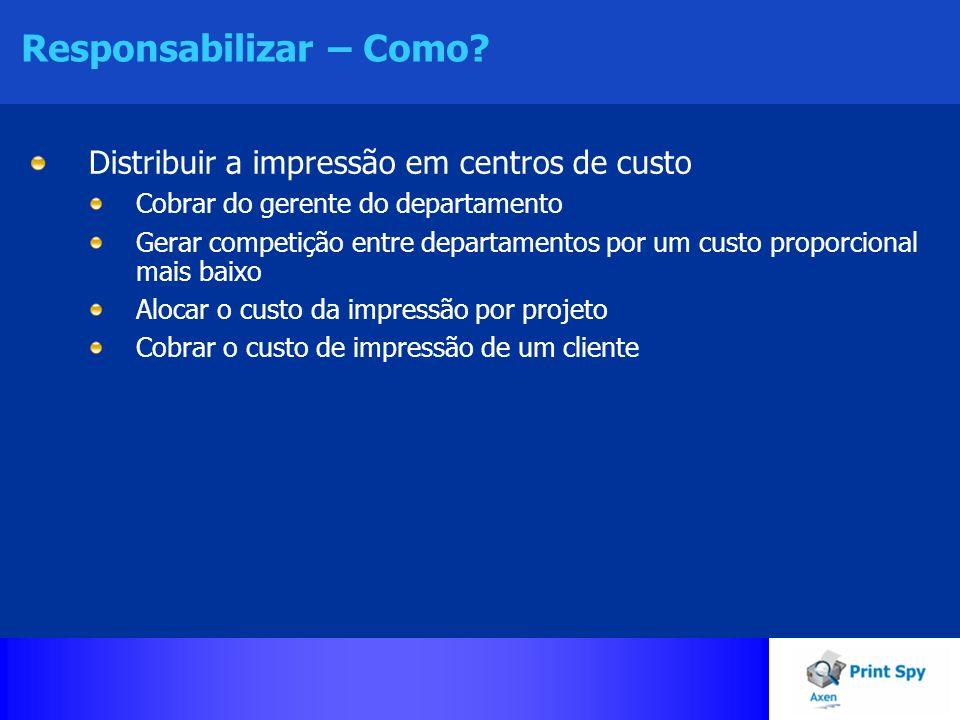 Responsabilizar – Como? Distribuir a impressão em centros de custo Cobrar do gerente do departamento Gerar competição entre departamentos por um custo