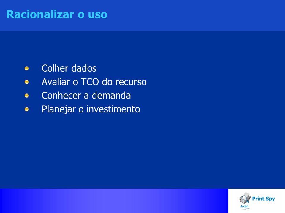 Racionalizar o uso Colher dados Avaliar o TCO do recurso Conhecer a demanda Planejar o investimento