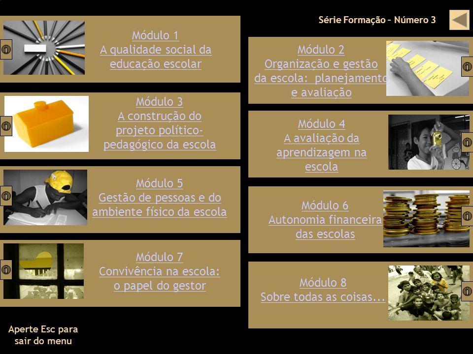 Série Formação – Número 3 Módulo 1 A qualidade social da educação escolar Módulo 3 A construção do projeto político- pedagógico da escola Módulo 5 Ges