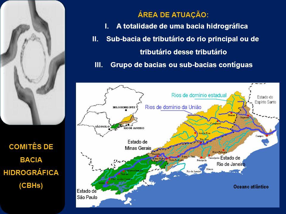 COMITÊS DE BACIA HIDROGRÁFICA (CBHs) ÁREA DE ATUAÇÃO: I. A totalidade de uma bacia hidrográfica II. Sub-bacia de tributário do rio principal ou de tri
