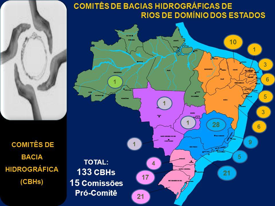 COMITÊS DE BACIA HIDROGRÁFICA (CBHs) COMITÊS DE BACIAS HIDROGRÁFICAS DE RIOS DE DOMÍNIO DOS ESTADOS 1 10 1365 3 6 9 5 21 28 21 17 41 1 1 TOTAL: 133 CB