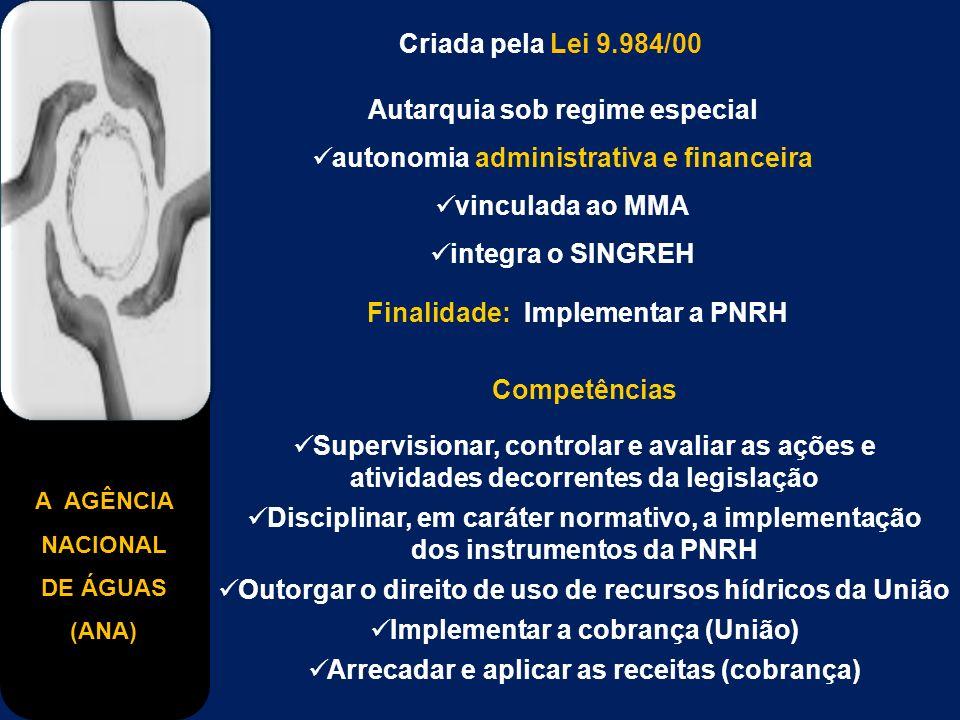 A AGÊNCIA NACIONAL DE ÁGUAS (ANA) Criada pela Lei 9.984/00 Autarquia sob regime especial autonomia administrativa e financeira vinculada ao MMA integr