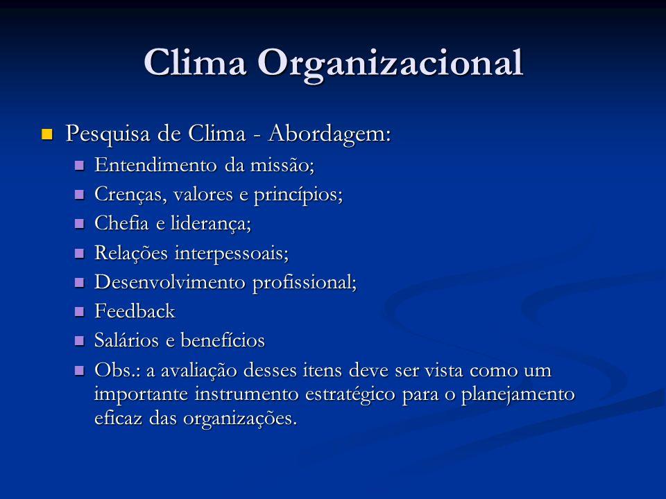 Clima Organizacional Pesquisa de Clima - Abordagem: Pesquisa de Clima - Abordagem: Entendimento da missão; Entendimento da missão; Crenças, valores e