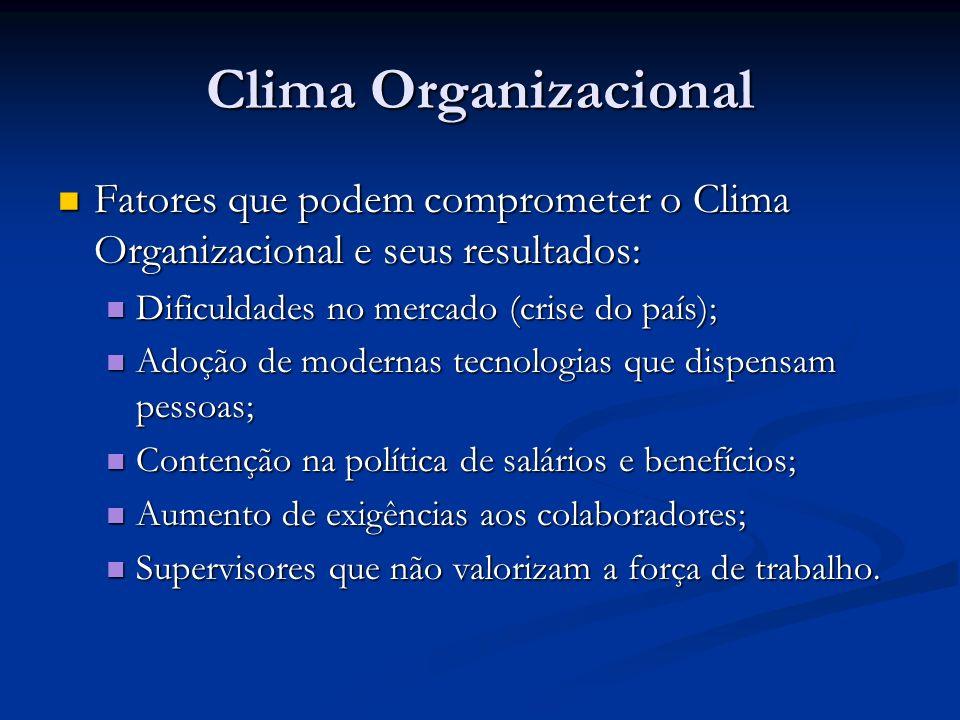 Clima Organizacional Fatores que podem comprometer o Clima Organizacional e seus resultados: Fatores que podem comprometer o Clima Organizacional e se