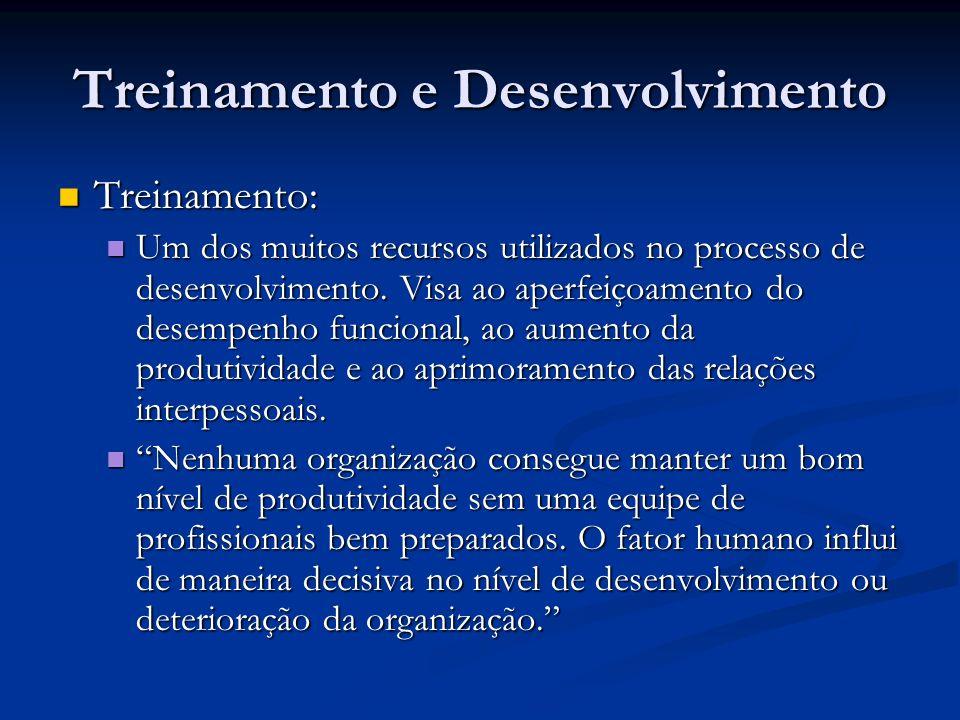 Treinamento e Desenvolvimento Treinamento: Treinamento: Um dos muitos recursos utilizados no processo de desenvolvimento. Visa ao aperfeiçoamento do d