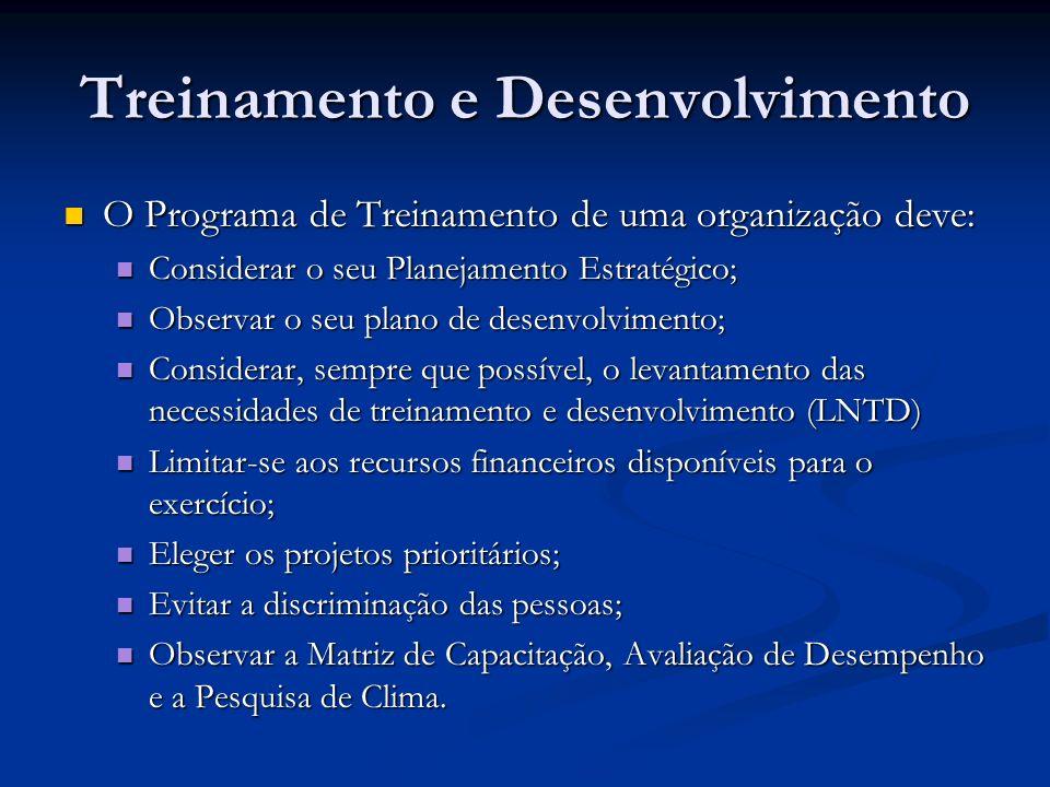 Treinamento e Desenvolvimento O Programa de Treinamento de uma organização deve: O Programa de Treinamento de uma organização deve: Considerar o seu P