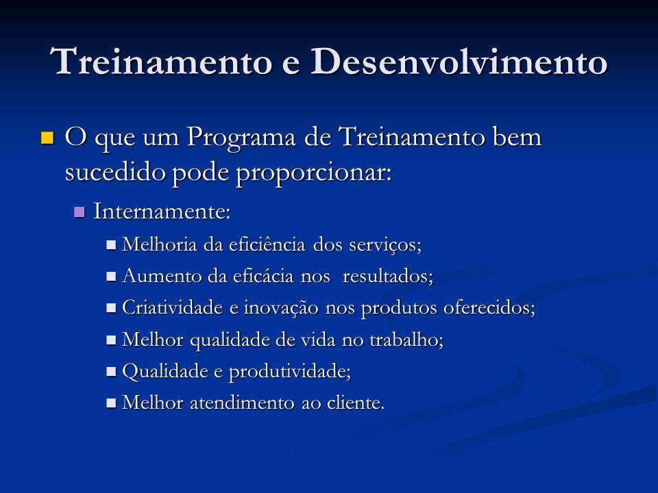 Treinamento e Desenvolvimento O que um Programa de Treinamento bem sucedido pode proporcionar: O que um Programa de Treinamento bem sucedido pode prop