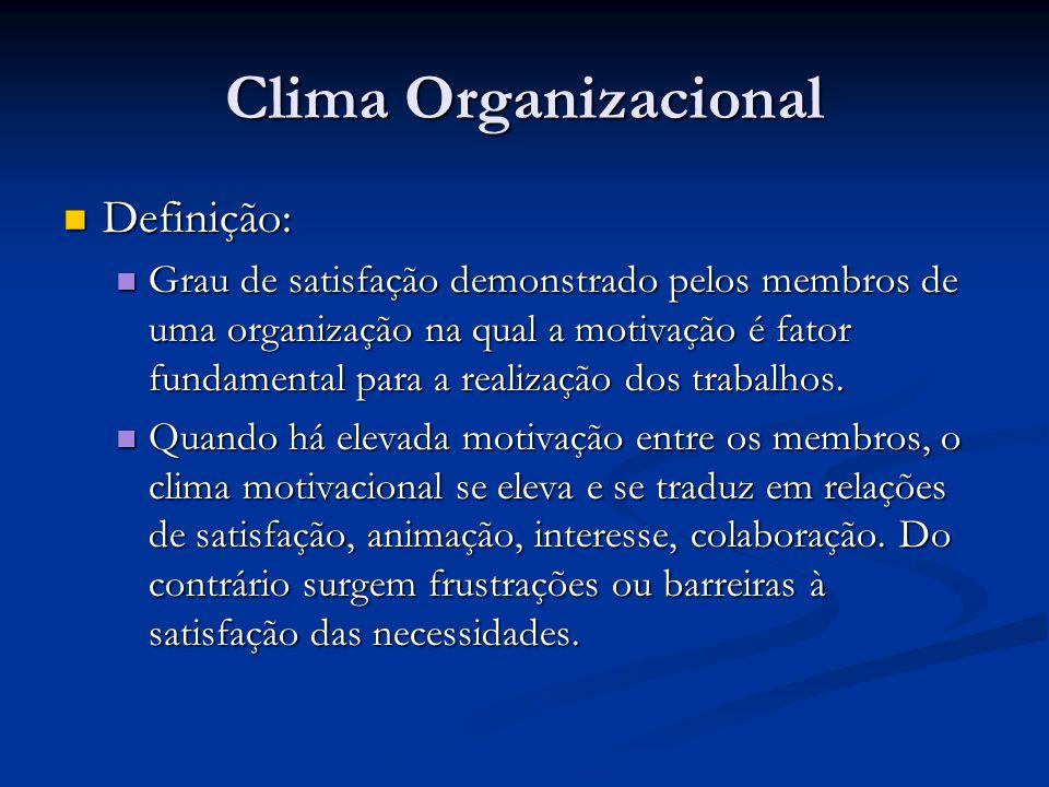 Clima Organizacional Definição: Definição: Grau de satisfação demonstrado pelos membros de uma organização na qual a motivação é fator fundamental par