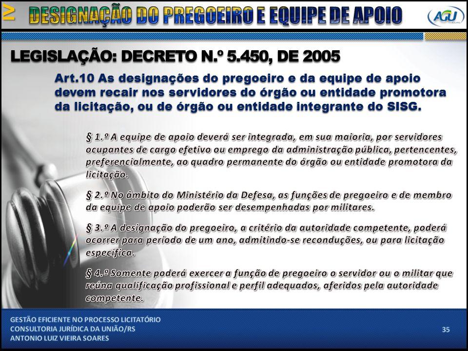 Art.10 As designações do pregoeiro e da equipe de apoio devem recair nos servidores do órgão ou entidade promotora da licitação, ou de órgão ou entidade integrante do SISG.