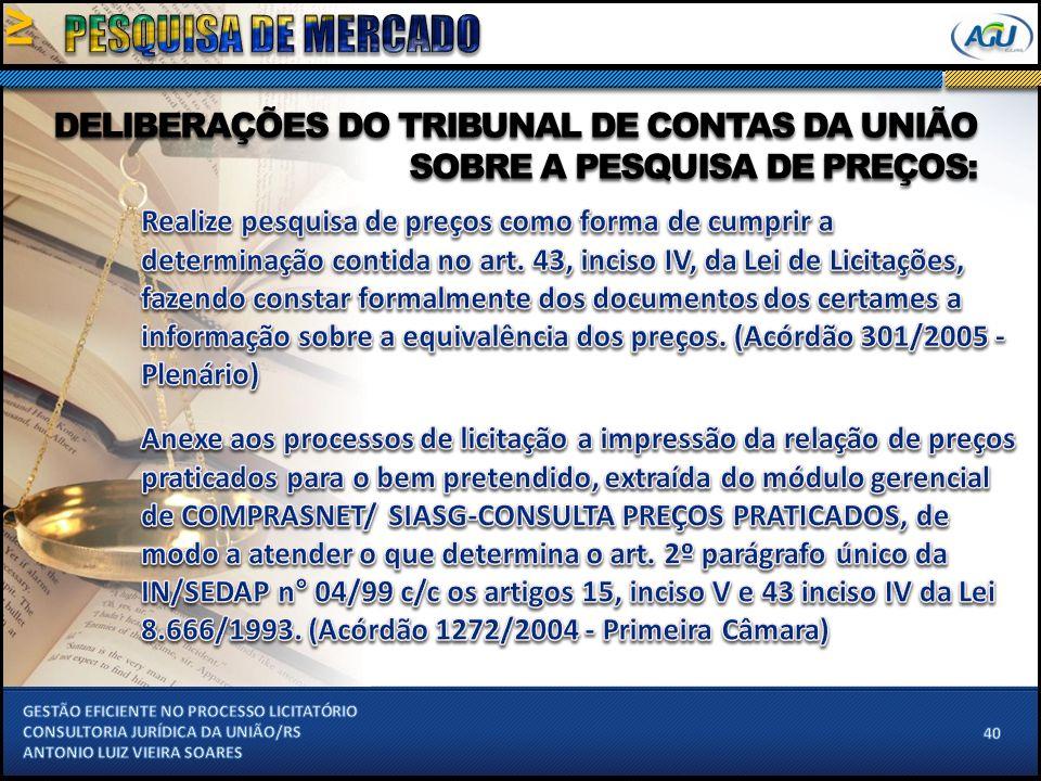 DELIBERAÇÕES DO TRIBUNAL DE CONTAS DA UNIÃO SOBRE A PESQUISA DE PREÇOS: