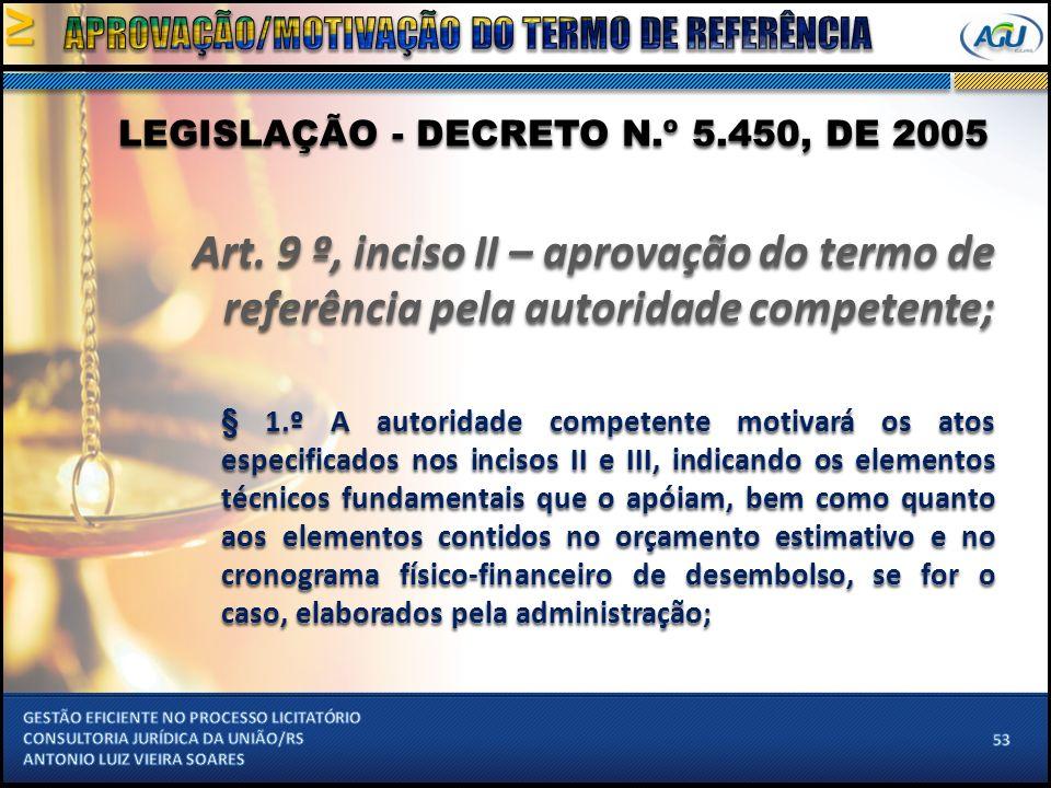LEGISLAÇÃO - DECRETO N.º 5.450, DE 2005 Art.