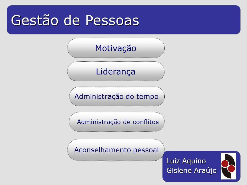 Gestão de Pessoas Luiz Aquino Gislene Araújo Motivação Liderança Administração do tempo Aconselhamento pessoal Administração de conflitos