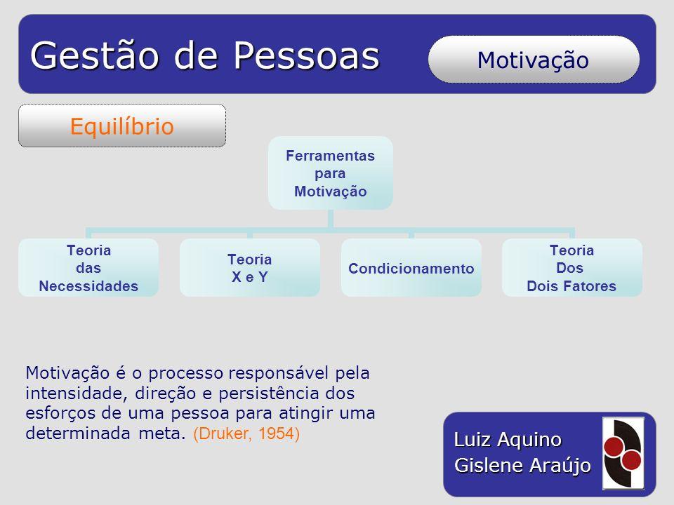 Gestão de Pessoas Luiz Aquino Gislene Araújo Equilíbrio Motivação Ferramentas para Motivação Teoria das Necessidades Teoria X e Y Condicionamento Teor