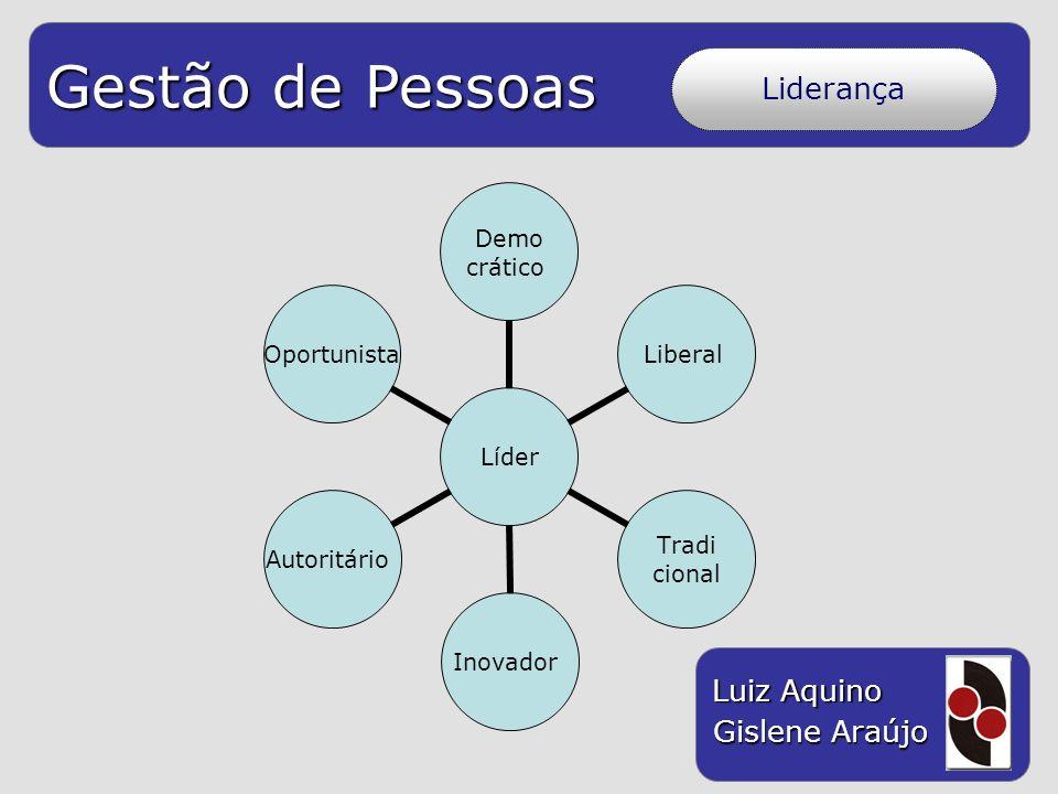 Gestão de Pessoas Luiz Aquino Gislene Araújo Liderança Líder Demo crático Liberal Tradi cional InovadorAutoritárioOportunista