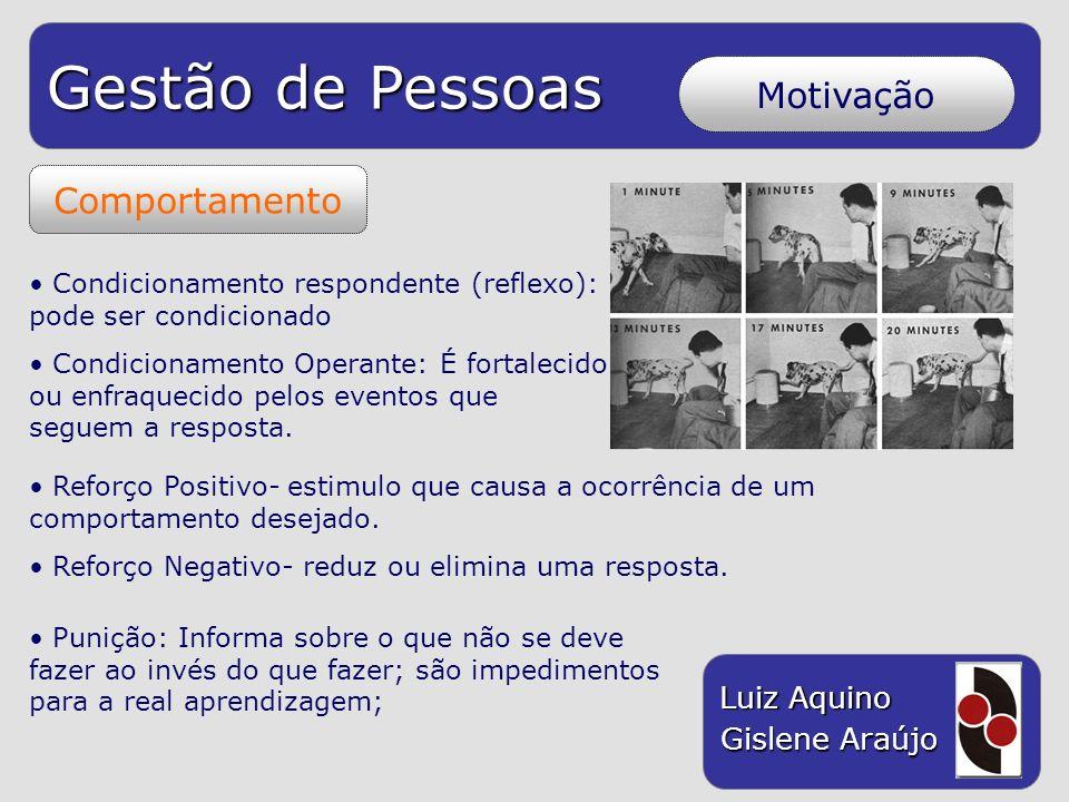 Gestão de Pessoas Luiz Aquino Gislene Araújo Motivação Comportamento Condicionamento respondente (reflexo): pode ser condicionado Condicionamento Oper