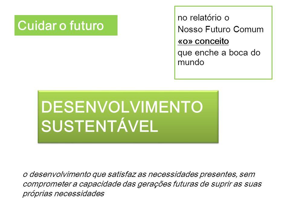 o desenvolvimento que satisfaz as necessidades presentes, sem comprometer a capacidade das gerações futuras de suprir as suas próprias necessidades Cu