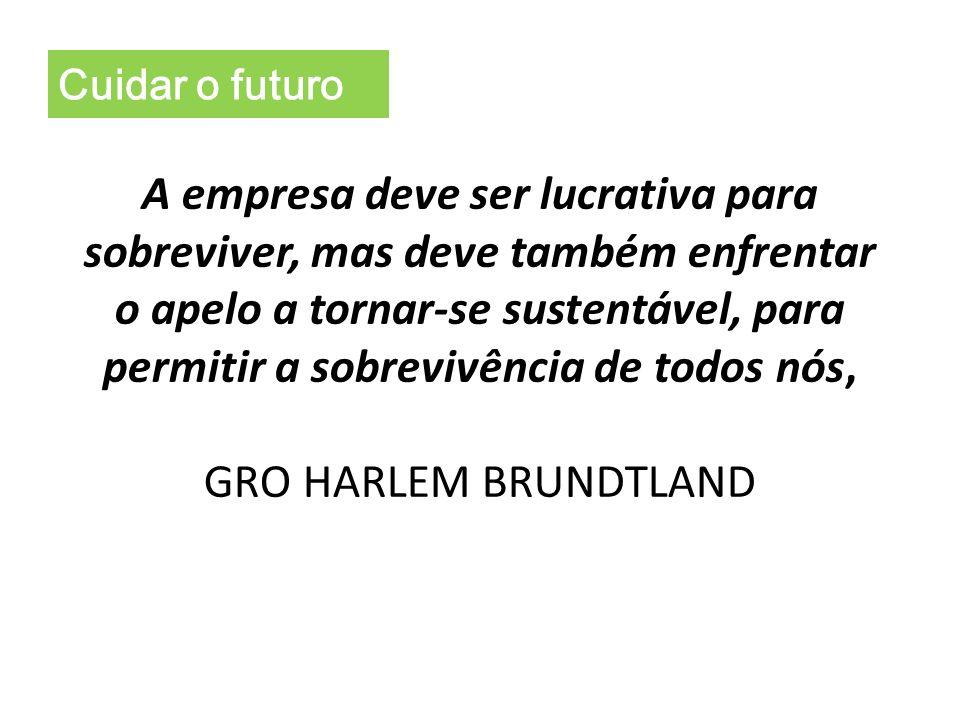 Cuidar o futuro A empresa deve ser lucrativa para sobreviver, mas deve também enfrentar o apelo a tornar-se sustentável, para permitir a sobrevivência