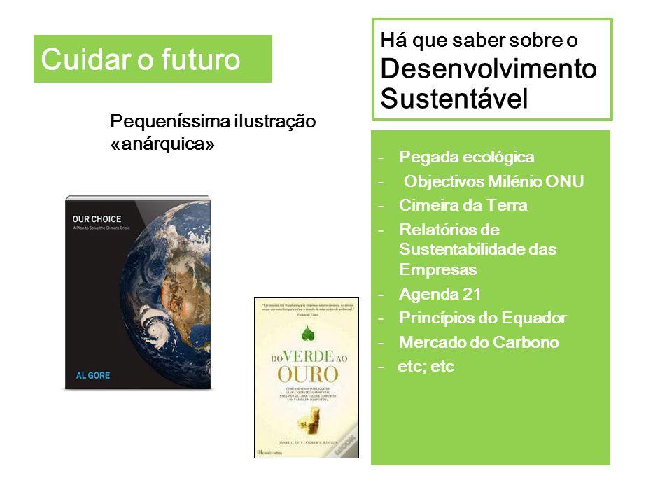Cuidar o futuro Há que saber sobre o Desenvolvimento Sustentável Pequeníssima ilustração «anárquica» -Pegada ecológica - Objectivos Milénio ONU -Cimei