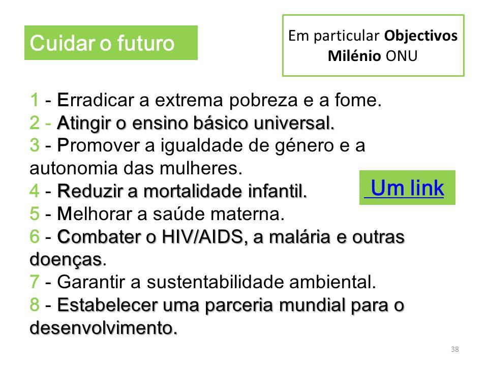 Em particular Objectivos Milénio ONU Atingir o ensino básico universal. Reduzir a mortalidade infantil. Combater o HIV/AIDS, a malária e outras doença