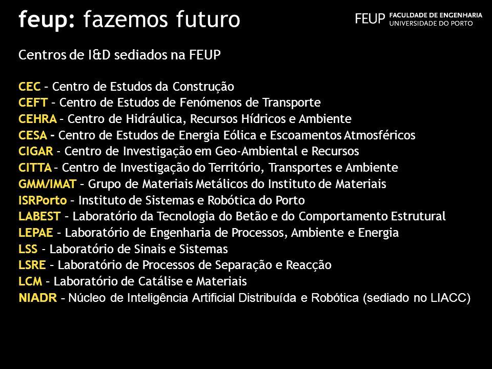feup: fazemos futuro Centros de I&D sediados na FEUP CEC – Centro de Estudos da Construção CEFT – Centro de Estudos de Fenómenos de Transporte CEHRA –