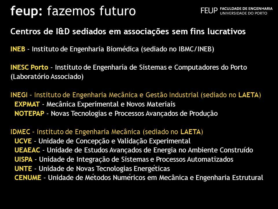 feup: fazemos futuro Centros de I&D sediados em associações sem fins lucrativos INEB - Instituto de Engenharia Biomédica (sediado no IBMC/INEB) INESC