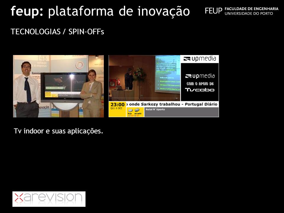 feup: plataforma de inovação TECNOLOGIAS / SPIN-OFFs Tv indoor e suas aplicações.