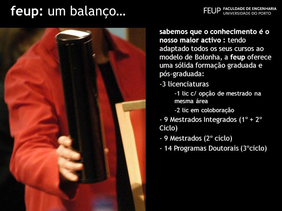 feup: um balanço… sabemos que o conhecimento é o nosso maior activo : tendo adaptado todos os seus cursos ao modelo de Bolonha, a feup oferece uma sól