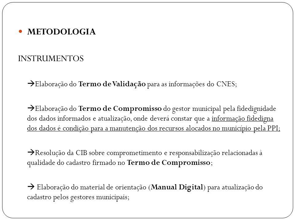 METODOLOGIA INSTRUMENTOS Elaboração do Termo de Validação para as informações do CNES; Elaboração do Termo de Compromisso do gestor municipal pela fid