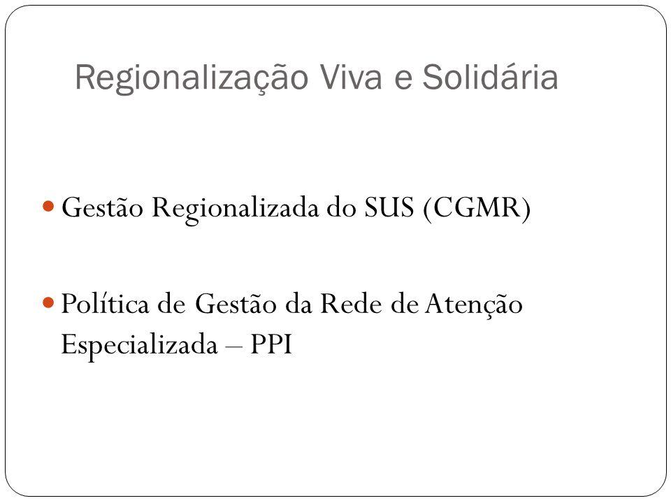 Regionalização Viva e Solidária Gestão Regionalizada do SUS (CGMR) Política de Gestão da Rede de Atenção Especializada – PPI
