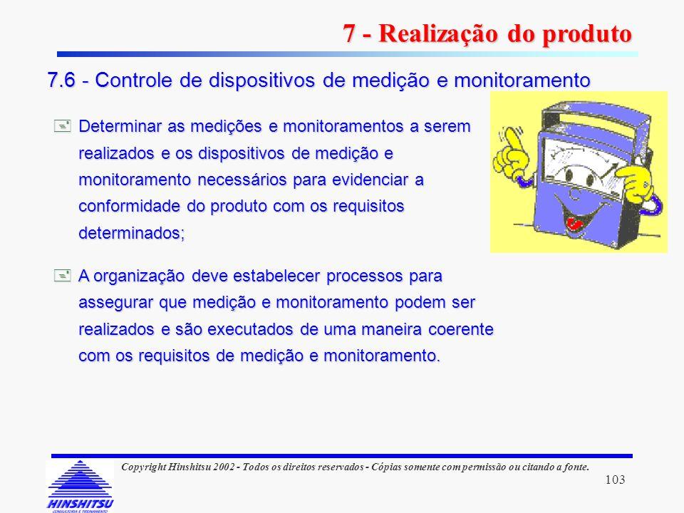 103 Copyright Hinshitsu 2002 - Todos os direitos reservados - Cópias somente com permissão ou citando a fonte. Determinar as medições e monitoramentos