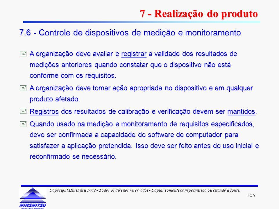 105 Copyright Hinshitsu 2002 - Todos os direitos reservados - Cópias somente com permissão ou citando a fonte. A organização deve avaliar e registrar