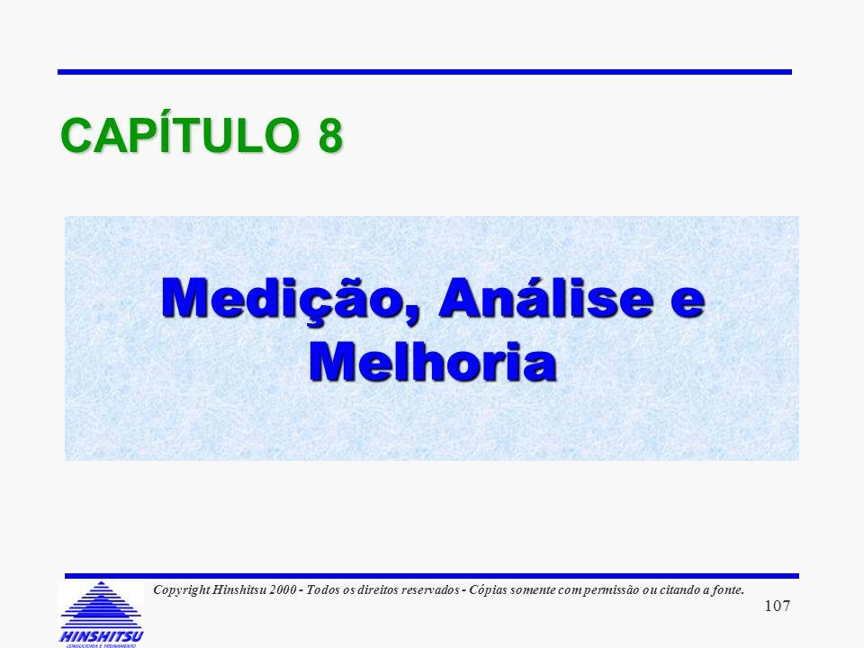 Medição, Análise e Melhoria CAPÍTULO 8 107 Copyright Hinshitsu 2000 - Todos os direitos reservados - Cópias somente com permissão ou citando a fonte.
