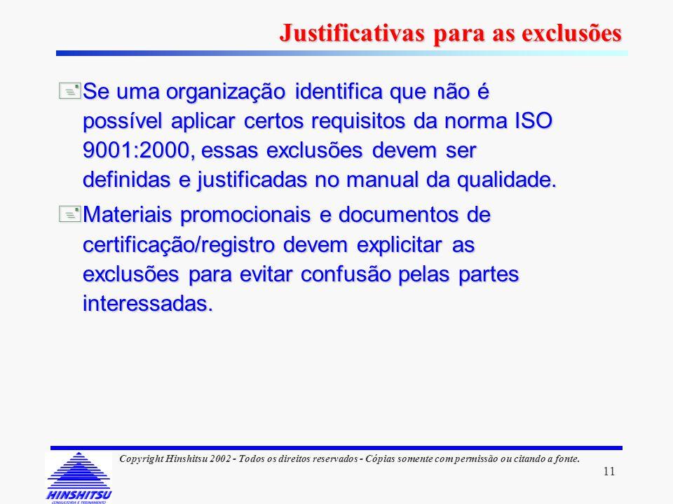 11 Copyright Hinshitsu 2002 - Todos os direitos reservados - Cópias somente com permissão ou citando a fonte. Se uma organização identifica que não é