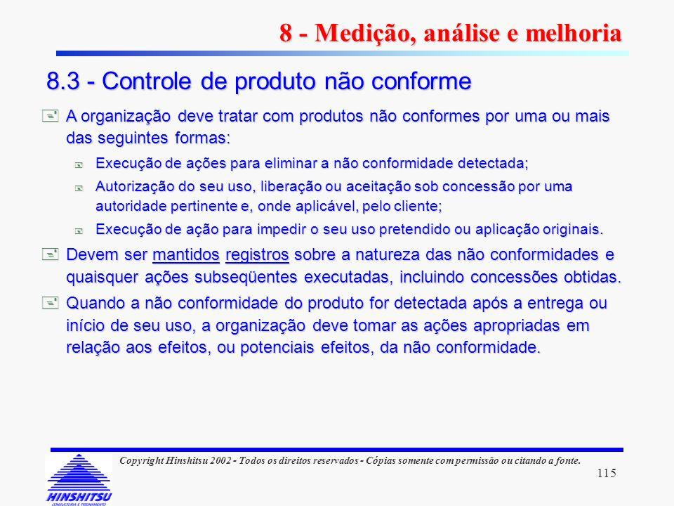 115 Copyright Hinshitsu 2002 - Todos os direitos reservados - Cópias somente com permissão ou citando a fonte. A organização deve tratar com produtos