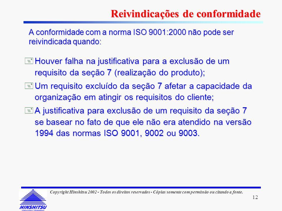 12 Copyright Hinshitsu 2002 - Todos os direitos reservados - Cópias somente com permissão ou citando a fonte. Houver falha na justificativa para a exc