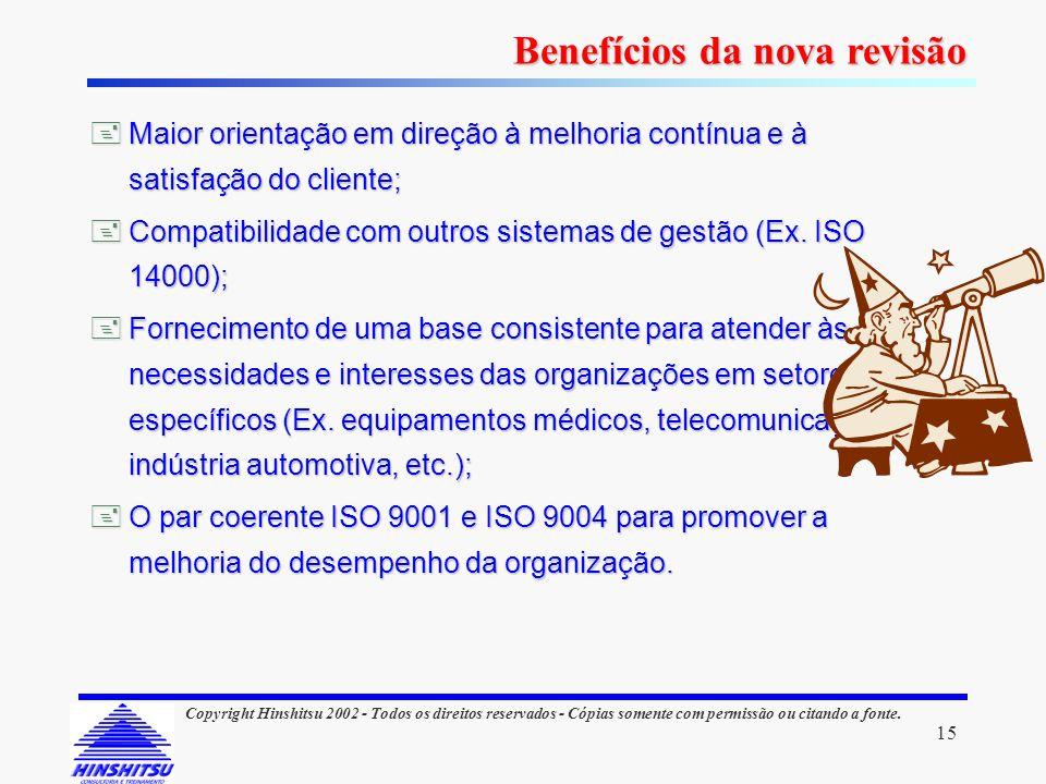 15 Copyright Hinshitsu 2002 - Todos os direitos reservados - Cópias somente com permissão ou citando a fonte. Maior orientação em direção à melhoria c