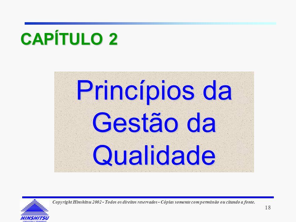 18 Copyright Hinshitsu 2002 - Todos os direitos reservados - Cópias somente com permissão ou citando a fonte. Princípios da Gestão da Qualidade CAPÍTU