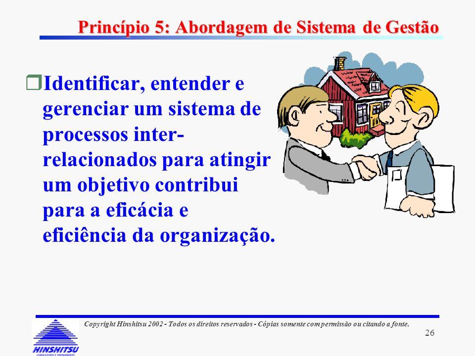 26 Copyright Hinshitsu 2002 - Todos os direitos reservados - Cópias somente com permissão ou citando a fonte. Princípio 5: Abordagem de Sistema de Ges
