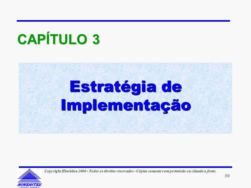 Estratégia de Implementação CAPÍTULO 3 30 Copyright Hinshitsu 2000 - Todos os direitos reservados - Cópias somente com permissão ou citando a fonte.