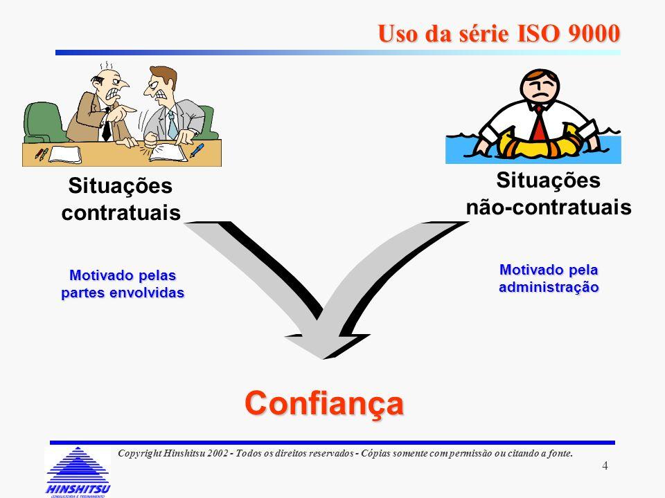 4 Copyright Hinshitsu 2002 - Todos os direitos reservados - Cópias somente com permissão ou citando a fonte. Uso da série ISO 9000 Confiança Motivado