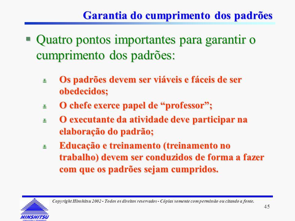 45 Copyright Hinshitsu 2002 - Todos os direitos reservados - Cópias somente com permissão ou citando a fonte. Garantia do cumprimento dos padrões §Qua