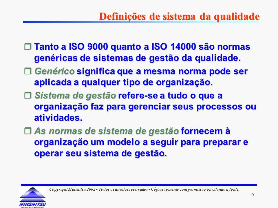 5 Copyright Hinshitsu 2002 - Todos os direitos reservados - Cópias somente com permissão ou citando a fonte. Definições de sistema da qualidade rTanto