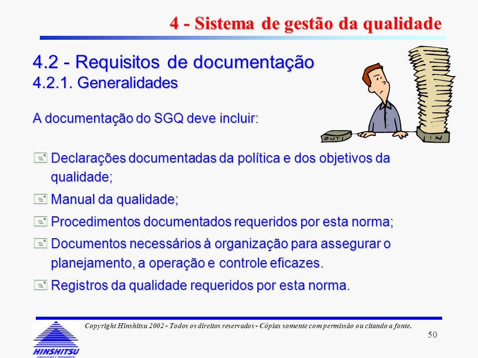 50 Copyright Hinshitsu 2002 - Todos os direitos reservados - Cópias somente com permissão ou citando a fonte. A documentação do SGQ deve incluir: Decl