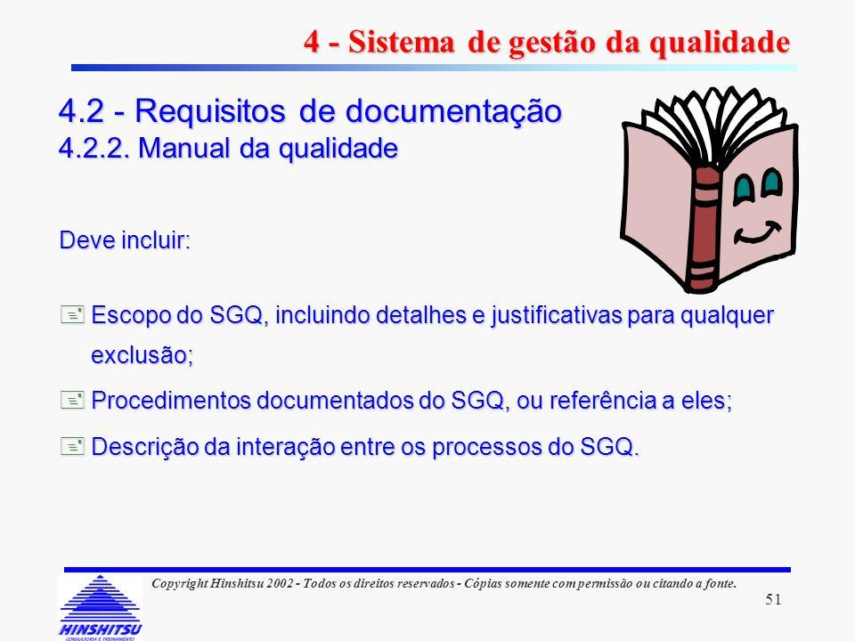 51 Copyright Hinshitsu 2002 - Todos os direitos reservados - Cópias somente com permissão ou citando a fonte. Deve incluir: Escopo do SGQ, incluindo d