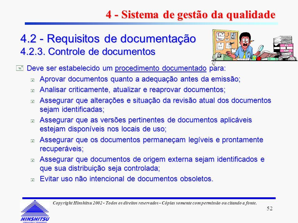 52 Copyright Hinshitsu 2002 - Todos os direitos reservados - Cópias somente com permissão ou citando a fonte. 4 - Sistema de gestão da qualidade 4.2 -