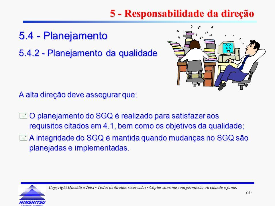 60 Copyright Hinshitsu 2002 - Todos os direitos reservados - Cópias somente com permissão ou citando a fonte. A alta direção deve assegurar que: O pla